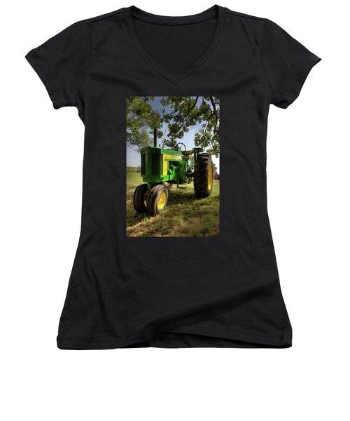 Parked John Deere 2 Women's V-Neck T-Shirt