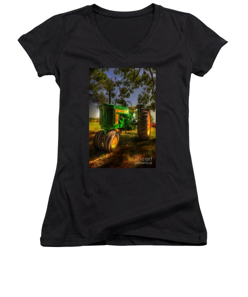 Parked John Deere Women's V-Neck T-Shirt (Junior Cut) by Michael Eingle