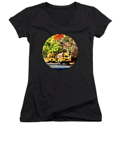 Parked School Buses Women's V-Neck T-Shirt
