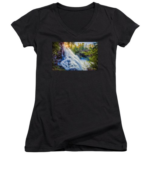 Partridge Falls In Late Afternoon Women's V-Neck