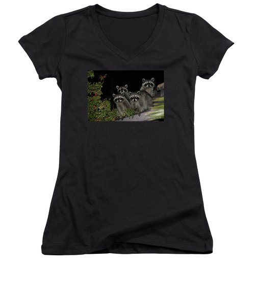 Women's V-Neck T-Shirt (Junior Cut) featuring the photograph Party Of Five On The Roof Top by Nina Prommer