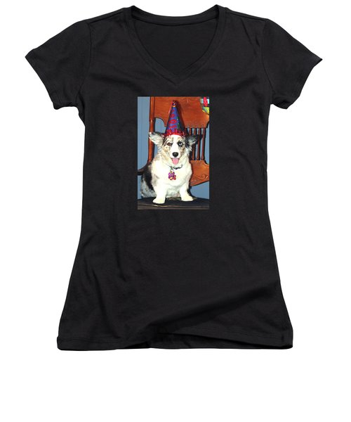 Party Time Dog Women's V-Neck T-Shirt (Junior Cut) by Cathy Donohoue