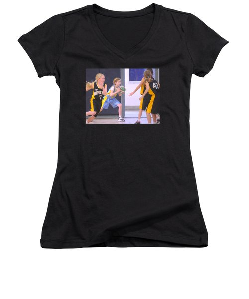 Pass The Ball Women's V-Neck (Athletic Fit)