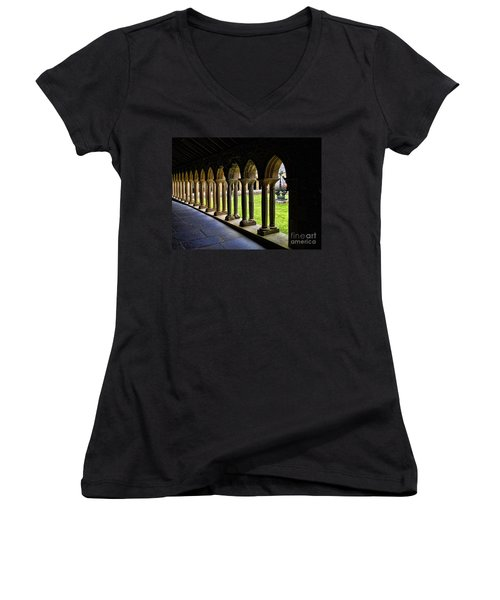 Women's V-Neck T-Shirt (Junior Cut) featuring the photograph Passage To The Ancient by Roberta Byram