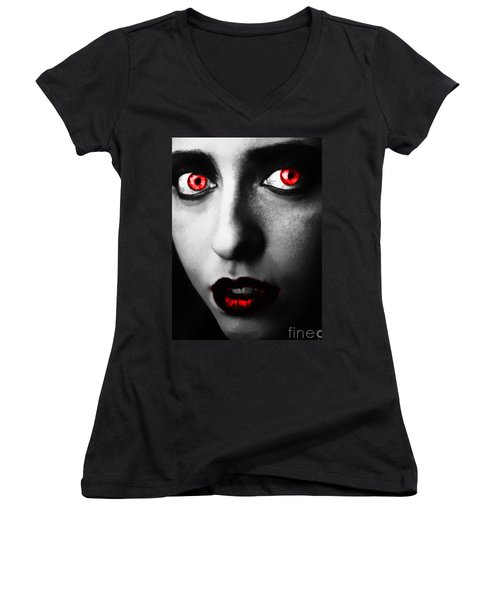 Women's V-Neck T-Shirt (Junior Cut) featuring the painting Passion Glare by Tbone Oliver