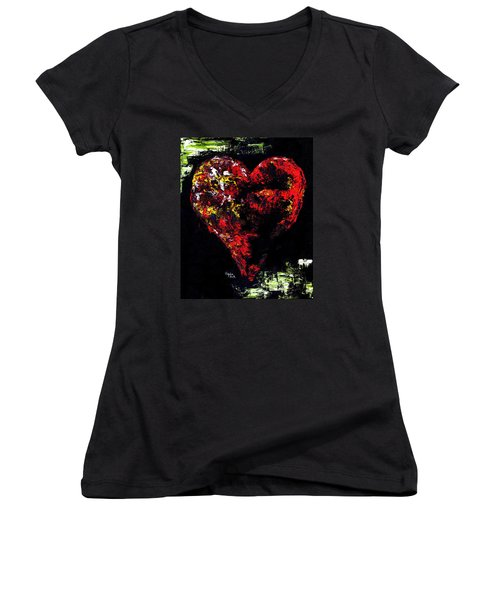 Women's V-Neck T-Shirt (Junior Cut) featuring the painting Passion by Hiroko Sakai
