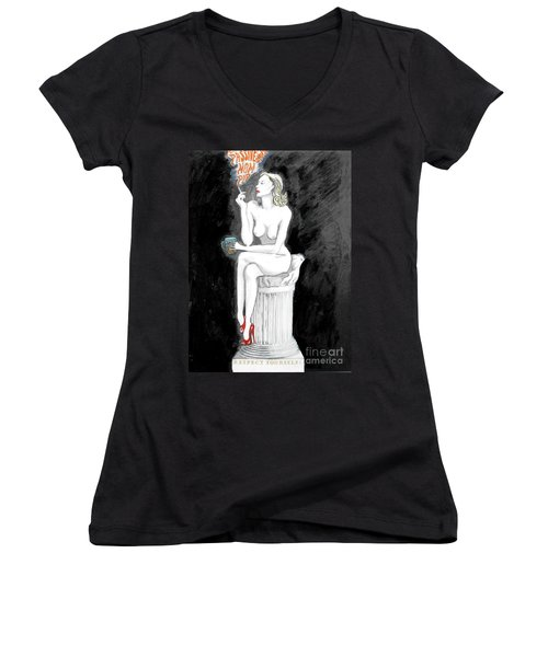 Passive Smoking Women's V-Neck (Athletic Fit)