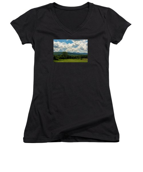 Women's V-Neck T-Shirt (Junior Cut) featuring the photograph Pastoral Landscape With Mountains by Nancy De Flon
