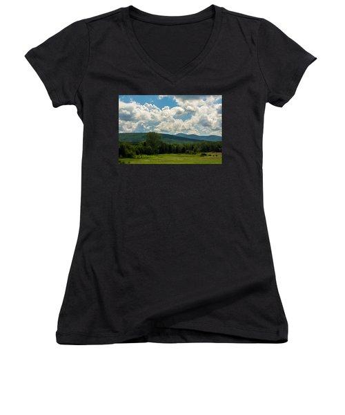 Pastoral Landscape With Mountains Women's V-Neck