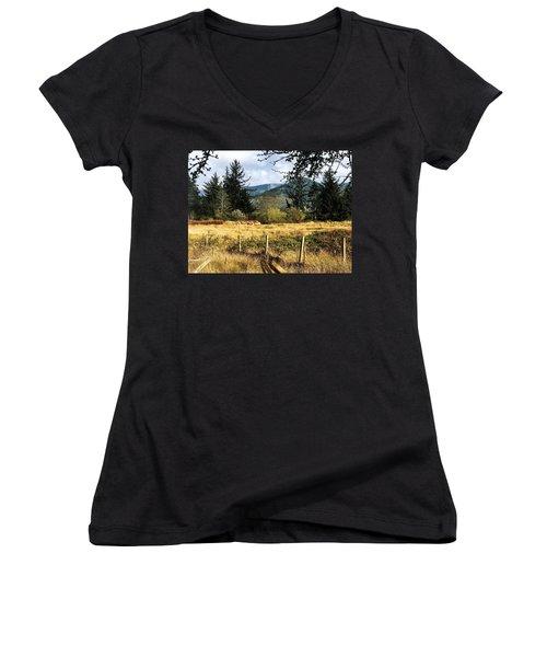 Pasture, Trees, Mountains Sky Women's V-Neck