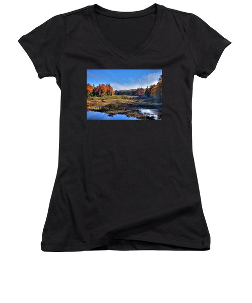 Women's V-Neck T-Shirt (Junior Cut) featuring the photograph Patches Of Fog At The Green Bridge by David Patterson