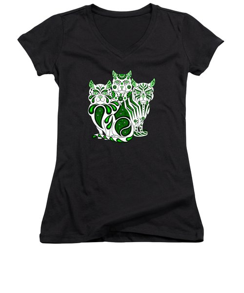 Patches, Stripes, And Bobbles In Green Women's V-Neck T-Shirt