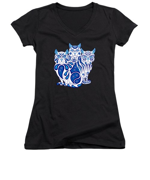 Patches, Stripes, And Bobbles Women's V-Neck T-Shirt (Junior Cut) by Ruanna Sion Shadd a'Dann'l Yoder