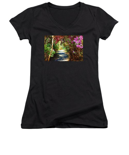 Women's V-Neck T-Shirt (Junior Cut) featuring the digital art Path To The Gardens by Donna Bentley