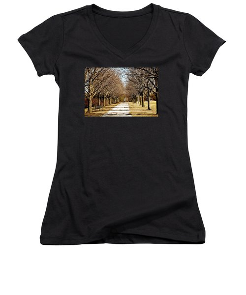 Pathway Through Trees Women's V-Neck