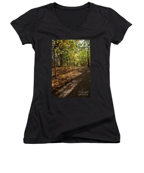 Women's V-Neck T-Shirt (Junior Cut) featuring the photograph Pathways In Fall by Iris Greenwell