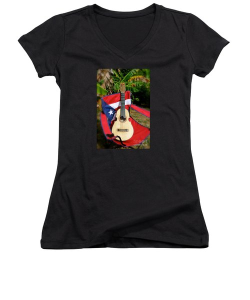 Patriotic Cuatro Women's V-Neck T-Shirt (Junior Cut) by The Art of Alice Terrill