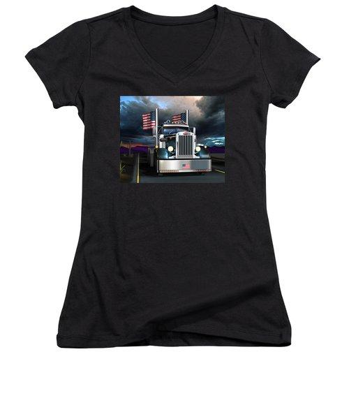 Women's V-Neck T-Shirt (Junior Cut) featuring the digital art Patriotic Pete by Stuart Swartz