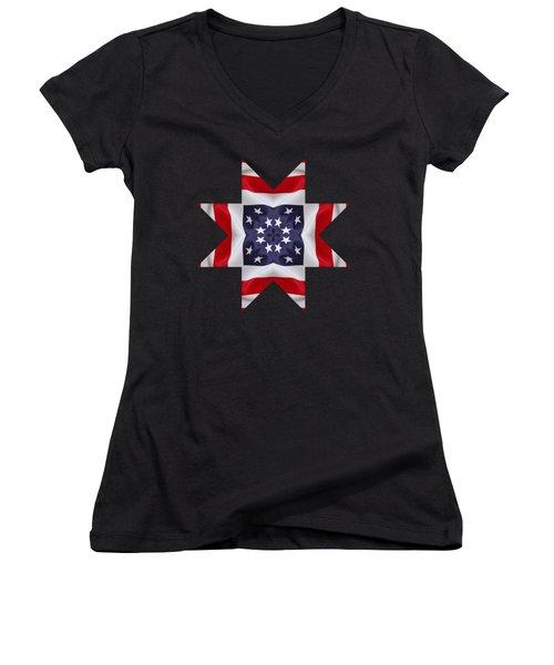 Patriotic Star 2 - Transparent Background Women's V-Neck T-Shirt (Junior Cut) by Jeff Kolker