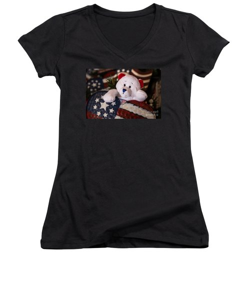 Patriotic Teddy Bear Women's V-Neck T-Shirt (Junior Cut) by Lynn Sprowl