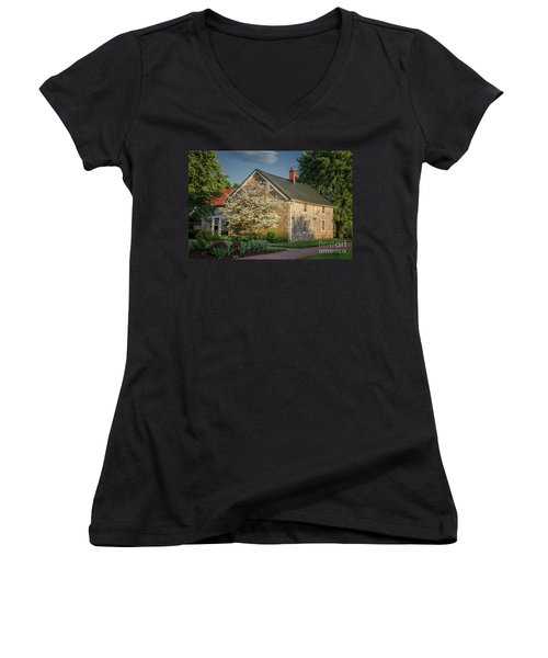 Women's V-Neck T-Shirt featuring the photograph Patterns Of Shadow And Light by Lois Bryan
