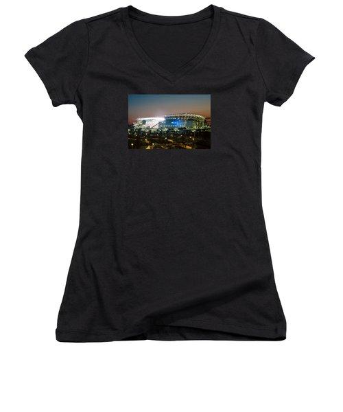Paul Brown Stadium Women's V-Neck T-Shirt (Junior Cut) by Scott Meyer