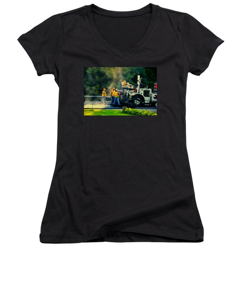 Paving Crew Women's V-Neck (Athletic Fit)