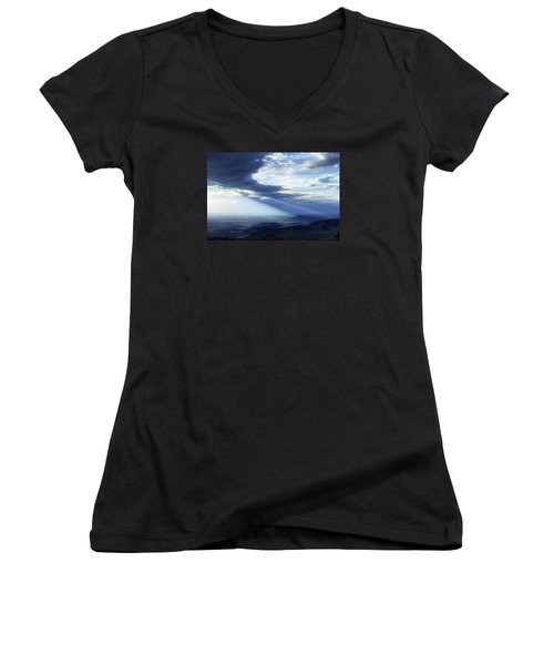 Peace In The Valley Women's V-Neck T-Shirt (Junior Cut) by Rick Furmanek