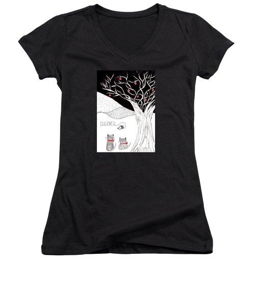 Peace Women's V-Neck T-Shirt (Junior Cut) by Lou Belcher