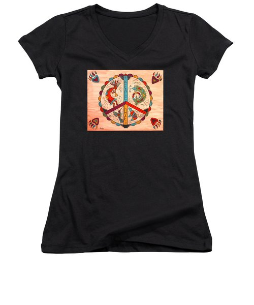 Women's V-Neck T-Shirt (Junior Cut) featuring the painting Peace Love And Harmony by Susie WEBER