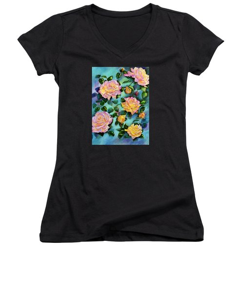 Peace Opus Women's V-Neck T-Shirt (Junior Cut) by Ann Peck