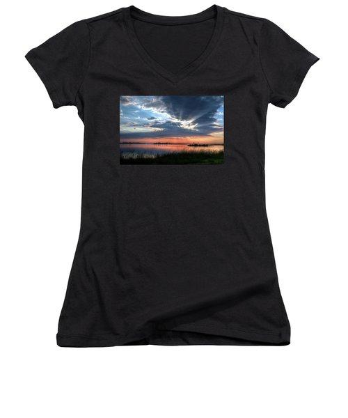 Peace Women's V-Neck T-Shirt (Junior Cut) by Ronda Ryan