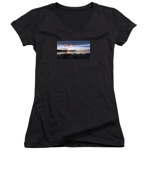 Peaceful Moments At Bar Harbor Women's V-Neck T-Shirt