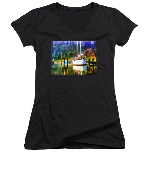 Women's V-Neck T-Shirt (Junior Cut) featuring the photograph Peaceful Morning In The Cove by Brian Wallace
