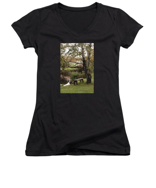 Women's V-Neck T-Shirt (Junior Cut) featuring the photograph Peaceful Retreat by Margie Avellino