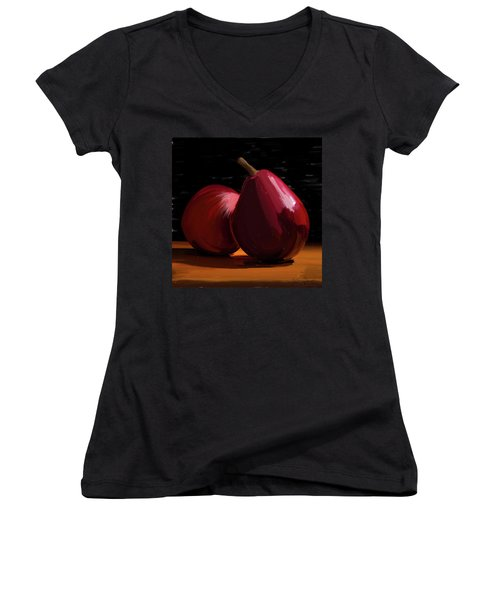 Peach And Pear 01 Women's V-Neck T-Shirt (Junior Cut) by Wally Hampton