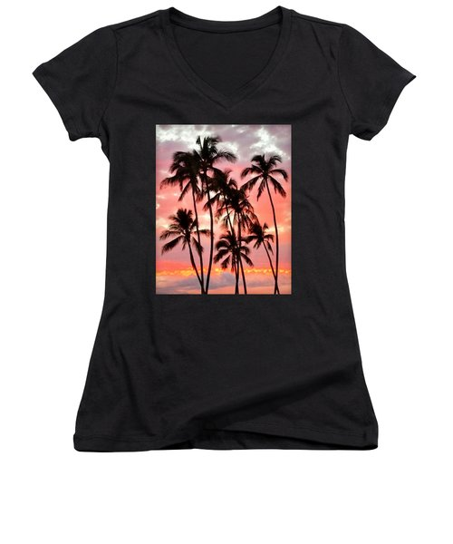 Peachy Palms Women's V-Neck (Athletic Fit)