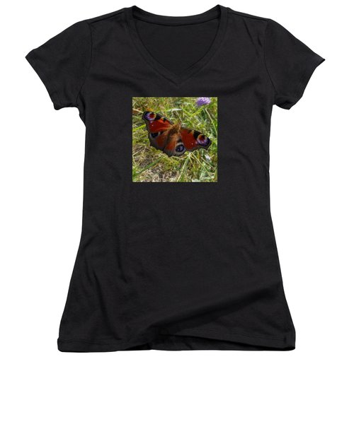 Women's V-Neck T-Shirt (Junior Cut) featuring the photograph Peacock Butterfly by Jean Bernard Roussilhe