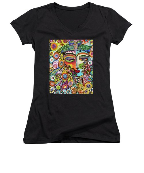 Peacock Emerald Lovebirds Goddess Women's V-Neck T-Shirt