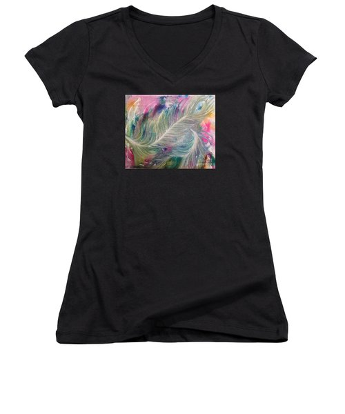 Peacock Feathers Pastel Women's V-Neck T-Shirt (Junior Cut) by Denise Hoag