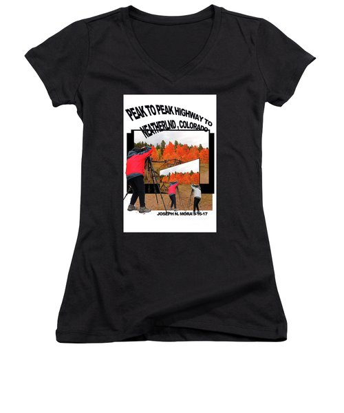 Peak To Peak Highway Women's V-Neck T-Shirt