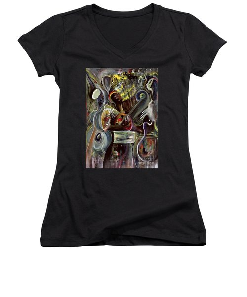 Pearl Jam Women's V-Neck T-Shirt (Junior Cut) by Ikahl Beckford