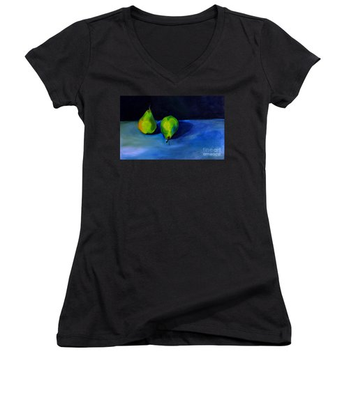 Women's V-Neck T-Shirt (Junior Cut) featuring the painting Pears Space Between by Daun Soden-Greene