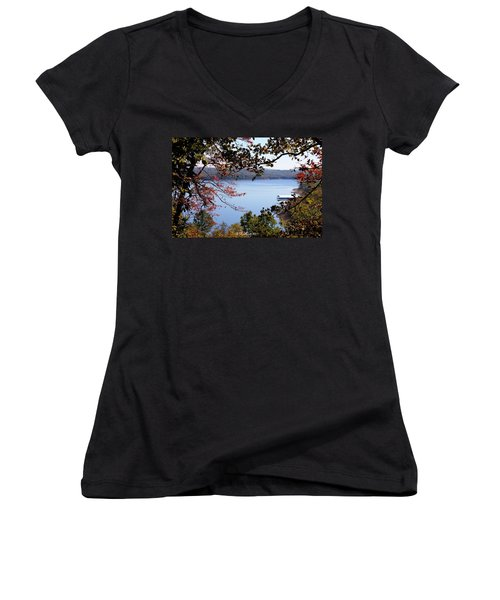 Peek-a-view Women's V-Neck T-Shirt (Junior Cut) by Betty Northcutt