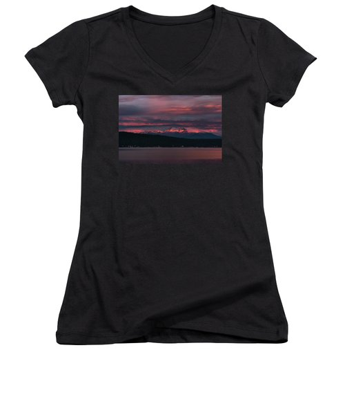Women's V-Neck T-Shirt (Junior Cut) featuring the photograph Peekaboo Sunrise by Jan Davies