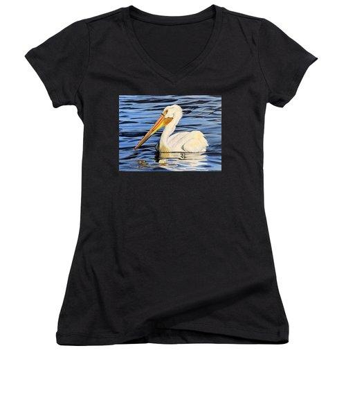 Pelican Posing Women's V-Neck T-Shirt (Junior Cut) by Marilyn McNish