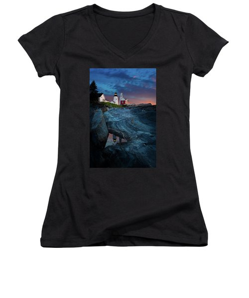 Pemaquid Lighthouse At Dawn Women's V-Neck (Athletic Fit)