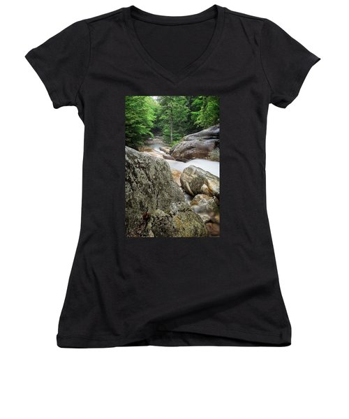 Women's V-Neck featuring the photograph Pemi Above Basin by Michael Hubley