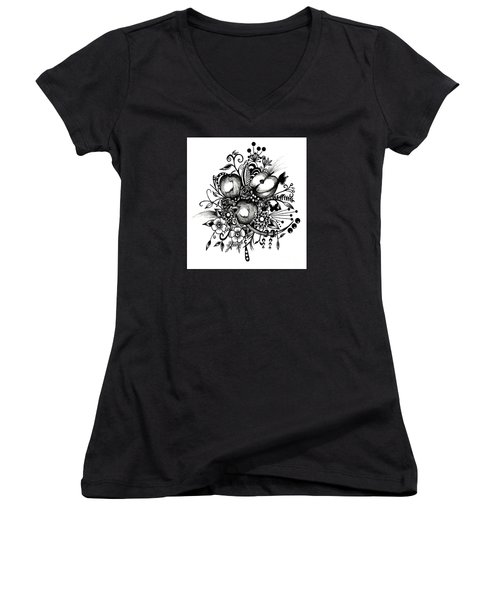 Women's V-Neck T-Shirt (Junior Cut) featuring the drawing Pen And Ink Drawing Apples Black And White Art by Saribelle Rodriguez