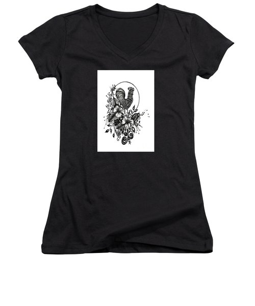 Women's V-Neck T-Shirt (Junior Cut) featuring the drawing Pen And Ink Drawing Rooster by Saribelle Rodriguez